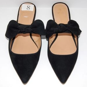 Bill Blass Sabrina Black Suede Bow Sandals